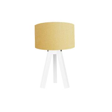 Resim Kumaş Başlıklı 3 Ayaklı Tripod Abajur - Sarı/ Beyaz