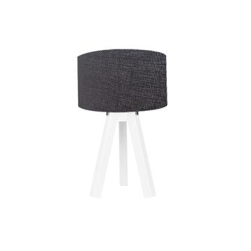 Resim Kumaş Başlıklı 3 Ayaklı Tripod Abajur - Siyah  / Beyaz