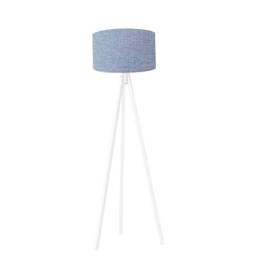 Resim Kumaş Başlıklı 3 Ayaklı Tripod Lambader Açık Mavi - Beyaz