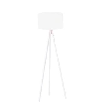 Resim Kumaş Başlıklı 3 Ayaklı Tripod Lambader - Beyaz / Beyaz