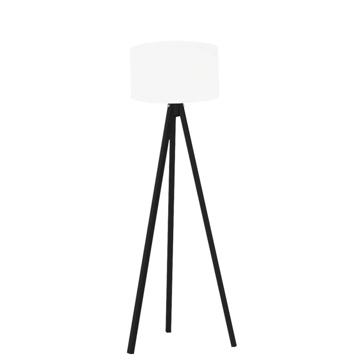 Resim Kumaş Başlıklı 3 Ayaklı Tripod Lambader - Beyaz / Siyah