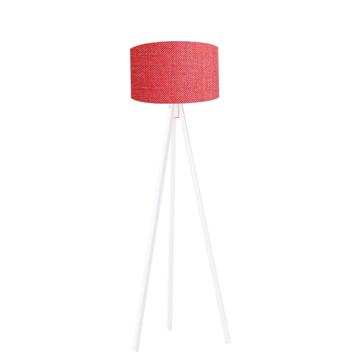 Resim Kumaş Başlıklı 3 Ayaklı Tripod Lambader - Kırmızı / Beyaz