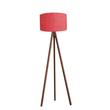 Resim Kumaş Başlıklı 3 Ayaklı Tripod Lambader - Kırmızı / Kahve