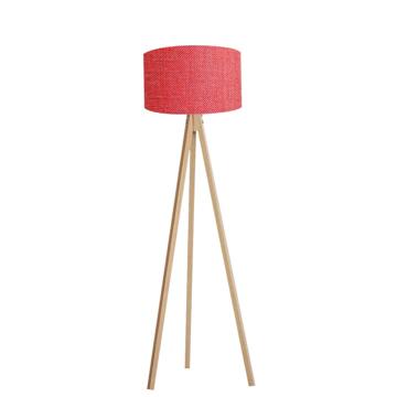 Resim Kumaş Başlıklı 3 Ayaklı Tripod Lambader - Kırmızı / Naturel