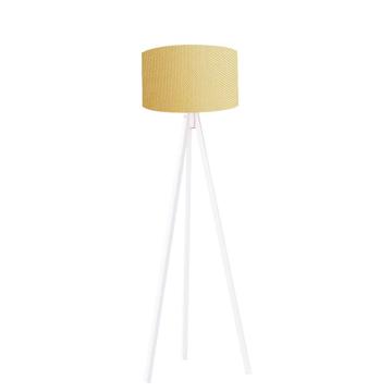 Resim Kumaş Başlıklı 3 Ayaklı Tripod Lambader - Sarı / Beyaz