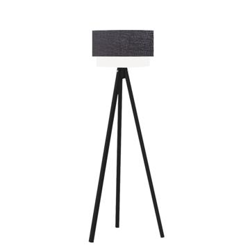 Resim Pasta Kumaş Başlıklı 3 Ayaklı Tripod Lambader - Siyah / Siyah