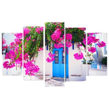Resim 5 Parça Dekoratif Tablo-Beyaz Ev