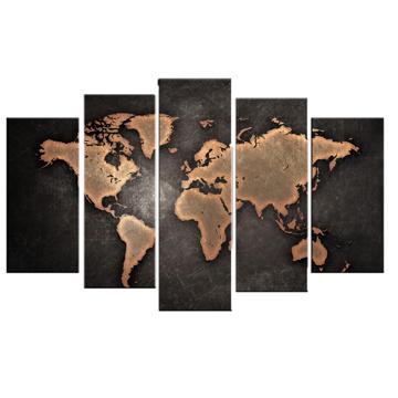 Resim 5 Parça Dekoratif Tablo-Dünya Harita-5