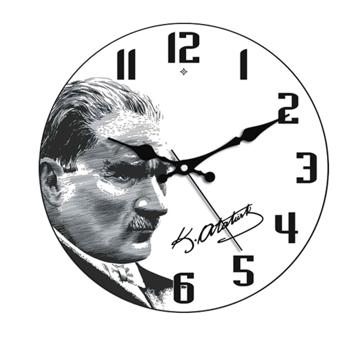 Resim Galaxy Bombe Camlı Duvar Saati 35 Cm Atatürk